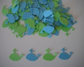 Whale Paper Confetti - 100 piece-  Aqua Blue and Lime Green or Your Choice Of Colors