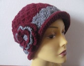 Woman Crochet Burgundy Cloche Hat With Gray Brim, Usa Seller