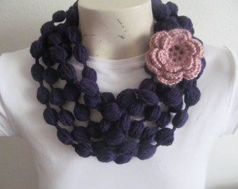 Crochet Puff Stitch Bubble Scarf Necklace In Purple