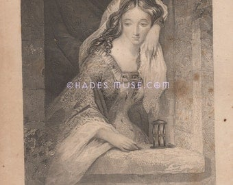 Sad Medieval Lady Waits In Tower-Lost Love-Hourglass-Ermena Gray-Lonely-Abandoned-Sad-Poem-1850 Old Antique Vintage Art Print-Gothic-Picture