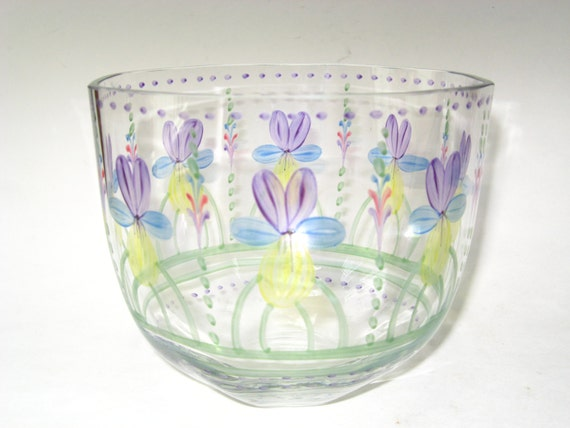 Eva Englund Orrefors Hand Painted Violets Forget Me Nots