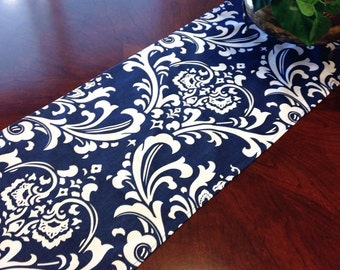 """Table Runner 11x72""""  Navy Blue and White Damask Table Runner Damask Table Runners"""