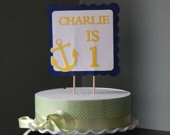 Anchor Cake Topper, Nautical Birthday, Nautical Baby Shower, Smash Cake, Navy and Yellow