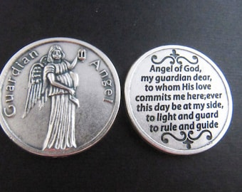 Guardian Angel Pocket Token Coin with Prayer on Back