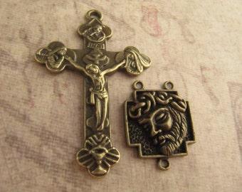 Beautiful Antique Bronze Large Crucifix and Matching Jesus Center - 1 Pair