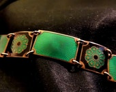 RESERVED FOR LAHLEE Signed David Andersen Emerald Green and Black Guilloche Enamel Sterling Bracelet - Excellent