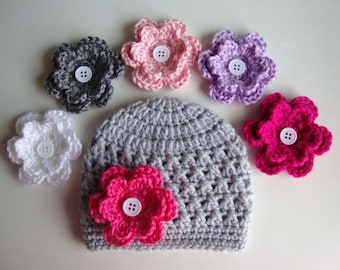 Baby Girl Hat, Baby Hat, Newborn Hat, Crochet Hat, Flower Hat In Light Gray, Photo Prop, Hat with 2 Flowers