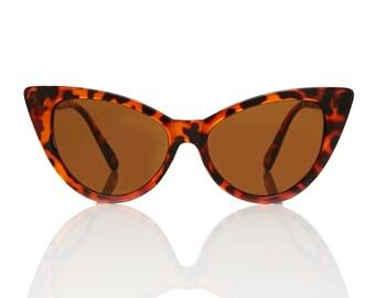 Nicky Tortoise Cat Eye Sunglasses - Brown Lens X American Deadstock