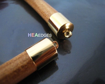 6pcs Gold End Caps 8mm - Findings Gold Plated Large Leather Cord Ends Cap with Loop 13mm x 9mm