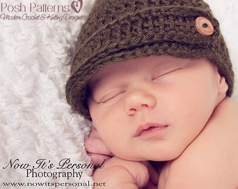 Crochet PATTERN - Crochet Newsboy Hat Pattern - Crochet Patterns for Men - Crochet Pattern Babies - Crochet Hat Pattern - 6 Sizes - PDF 197
