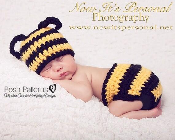 Crochet PATTERN - Crochet Bumble Bee Hat - Diaper Cover Pattern - Crochet Hat Pattern - Baby Crochet Pattern - Crochet Pattern Hat - PDF 161