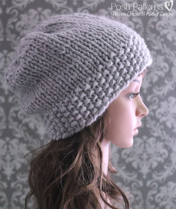 Simple Beanie Hat Knitting Pattern : Knitting PATTERN Slouchy Hat Pattern Knitting Patterns