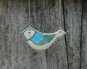 Blue Bird   Necklace Hand Painted Bird Pendant Wood Necklace Woodland Jewelry