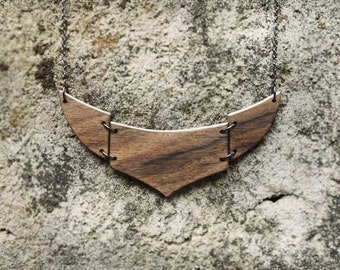 Wooden  Necklace Simple Tribal Necklace Natural Wood Necklace  Made to Order