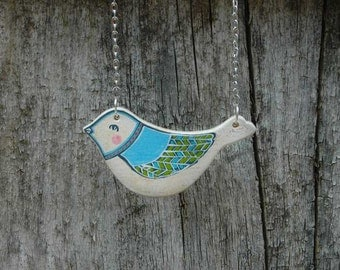 Blue Bird   Necklace Hand Painted Bird Pendant Wood Necklace Woodland Jewelry