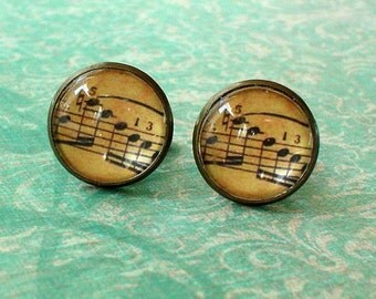 20% OFF -- 16 mm Old vintage music score  Cuff Links ,Sheet music ,Mens Accessories, perfect gift idea