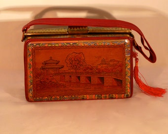 """Leather french vintage couture  red handbag """"""""SUBLIME CHINE""""""""unique piece  retro chic art bag steampunk bag french  touch"""