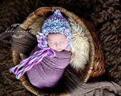 RESERVED for CASSANDRA - PERIWINKLE bonnet 6-12 mos - baby bonnet photo prop - hand-spun wool - knitbysarah - Stitches by Sarah