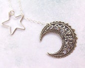 Crescent Moon Necklace, Silver Star Necklace, moon and star, Wiccan, lariat, sterling silver, pagan, filigree, celtic moon, wicca