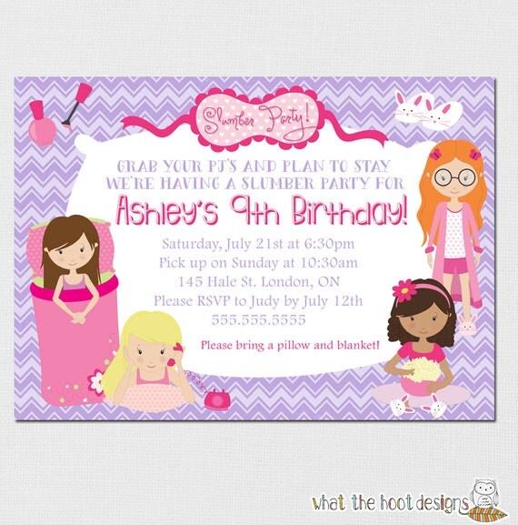 Pyjama Party Invite for best invitation layout