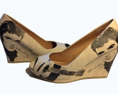 Size 8 and 6.5 only! Beige nubuck suede look wedges....super comfortable shoe with any design of your choice!