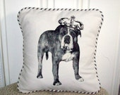 """shabby chic, feed sck, french country, vintage bulldog graphic with french ticking  welting 14"""" x 14"""" pillow sham."""