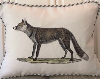 "shabby chic, feed sack, french country, vintage fox graphic with ticking stripe  welting 12"" x 16"" pillow sham."