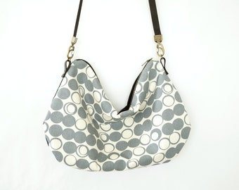 Screen Printed Cross Body Day Satchel Purse - Gray and Black