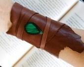Leather Cuff Wrap Bracelet and Macrame Malachite Semi Precious Stone Bracelet - Hippie Style (Stone for travellers)