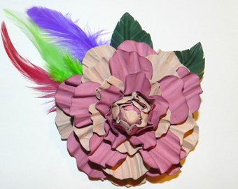 Leather brooch! Leather roses, handmade 100% leather flower. Nice Valentine's day gift!