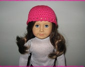 Hand-Crocheted Bright Pink Fitted Hat for 18 Inch American Girl Dolls also fits Bitty Baby