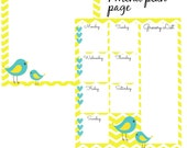 Seven Day Menu Plan & Notebook Page - Two Wee Little Birds Yellow Chevron Printable