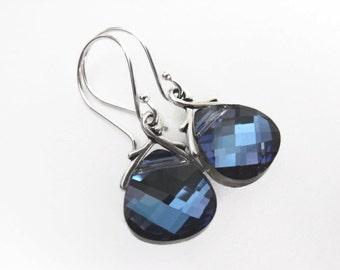 Bermuda Blue Earrings Sterling Silver Dangle Earrings Wedding Jewelry September Birthstone Drop Earrings