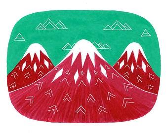 Original painting Spring wall art Gouache illustration Strawberry milkshake mountains Cherry red Crimson Mint