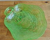 "Indiana Glass Co Green Depression Vaseline Glass Dish ""Charlie"" Pattern."