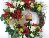 Red Spring Wreath, Grapevine Wreath, Birdcage, Red Cardinal Birds, Summer Red Rose Wreath, Burlap Ribbon, Front Door Wreath, White lilies