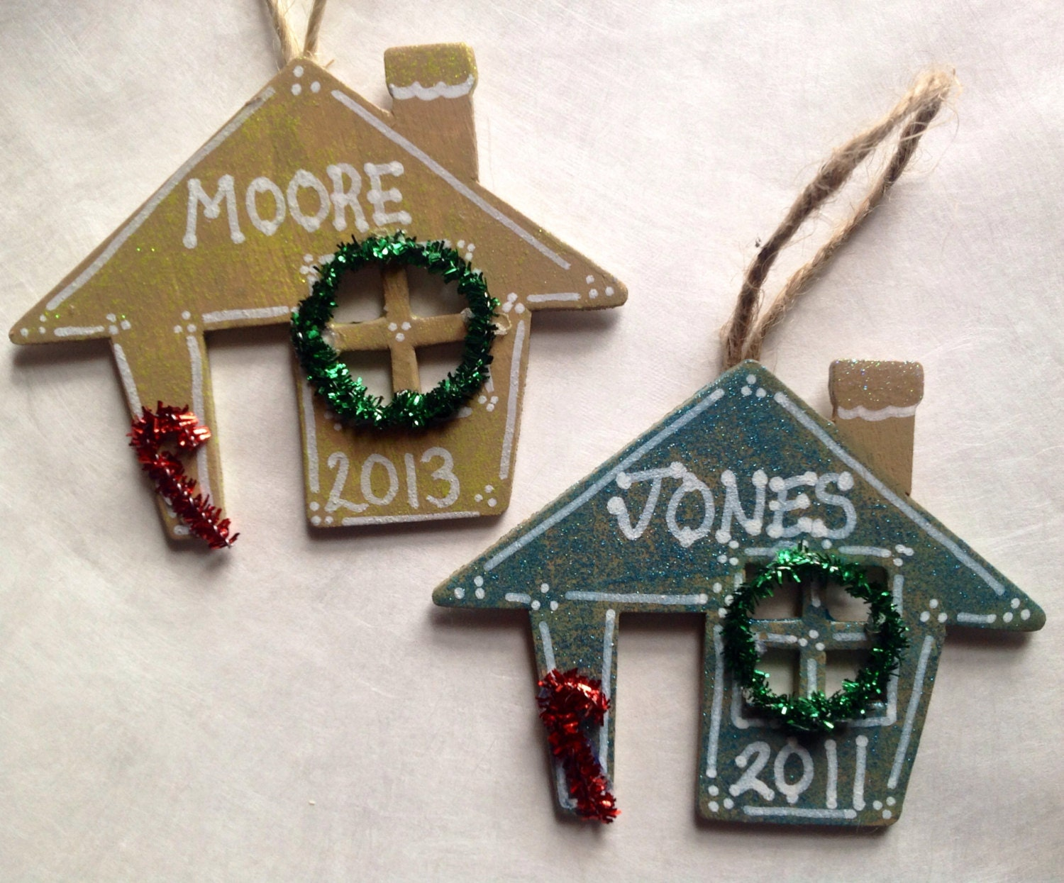 Hand Painted Personalized Wooden House Christmas Ornament with Wreath and Candy Cane. FREE personalization.