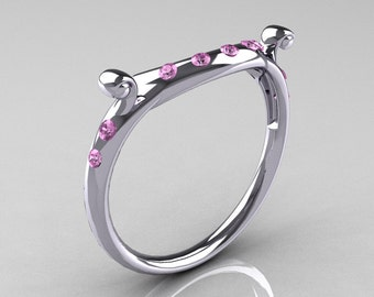 Modern Vintage 14K White Gold Light Pink Sapphire Flush Matching Wedding Band R167B-14KWGLPS
