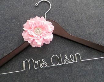 PINK Flower Bride Hanger - Wedding Dress Hanger - Custom Bridal Hanger - Mrs Hanger - Bride Hanger - Wedding Shower Gift - Bride Hangar