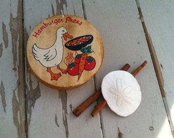 Vintage Wood Hamburger Press - Retro Kitchen Tool, Picnic Hamburgers, The Perfect Hamburger, Cookout Burgers, Meat Press on SALE