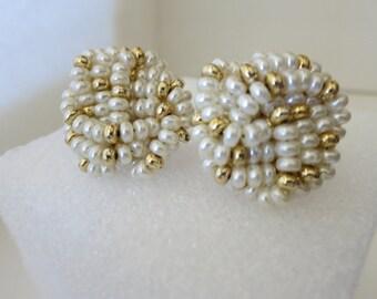 Earrings, Pearls, Gold Color, Clipbacks, Vintage, Large