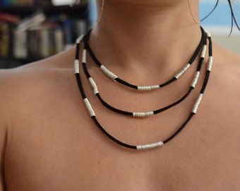 Sterling Silver and Black Suede Statement Choker