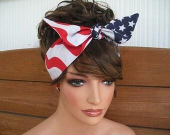 American Flag Headband 4th of July Headband Fashion Accessories Women Headband Dolly Bow Headband Headscarf Bandana