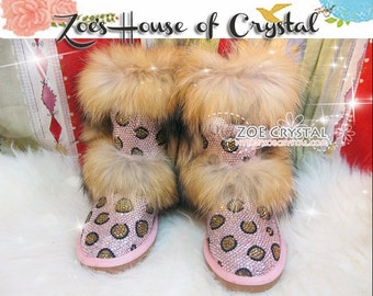 PROMOTION WINTER Bling and Sparkly Double Layers Fur SheepSkin Wool BOOTS w Pink Leopard Print made of Czech or Swarovski Crystals