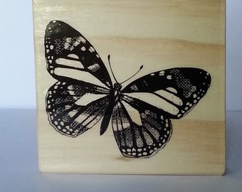 Large Monarch Butterfly Wooden Mounted Rubber Stamping Block DIY cards, scrapbooking, tags, Invitations