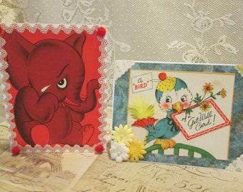 Get Well Cards, set of 2. old made new. up-cycled vintage greeting cards