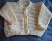 hand knitted baby sweater 6 - 9 months in lemon