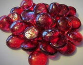 Peppermint Red Glitter Crystal Gems, Nuggets, Flat Backed  Mosaic Tiles/Cabochons 30 ct.