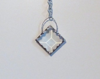 Mini Diamond Clear Crystal Bevel Holiday Ornament - Unique Gift Idea