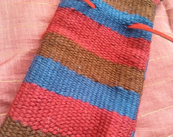 Red,Brown, and Blue Stripped handwoven Drawstring Pouch, DnD Pouch, Tarot Card Holder